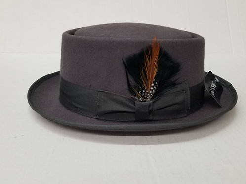 Gray Porkpie Wool Hat