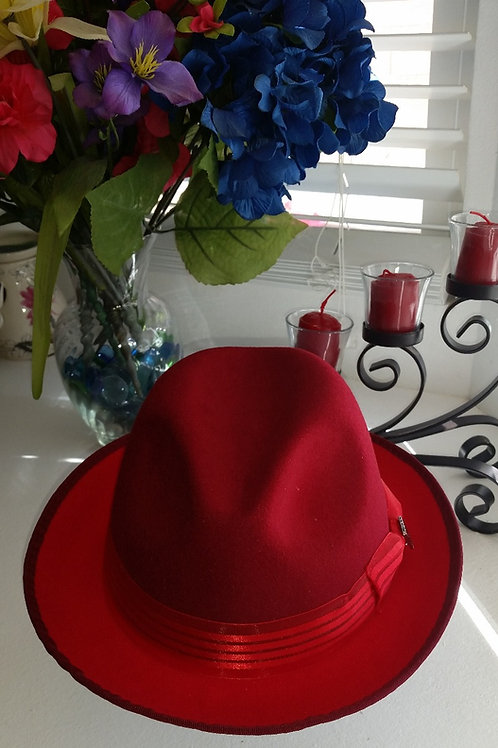 STACY ADAMS RED TWO TONE WOOL HAT