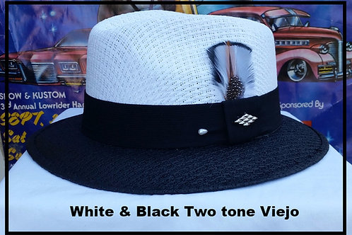 Viejo Two Tone White w/Black Brim