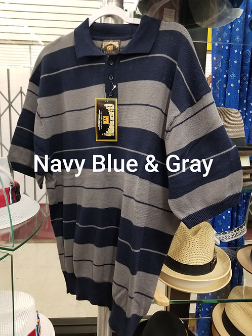 Navy Blue & Gray Stripe Charlie Brown knit shirt