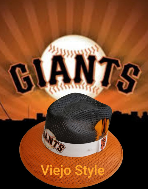 fa0479653d00aa Custom San Francisco Giants Two Tone Lowrider or Viejo Style. Sharp vintage  Look Garcia Hat in Orange top/Black brim. Made of cotton string, ...