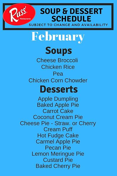 Dessert Pie Russ Soup TT Rotation Schedu