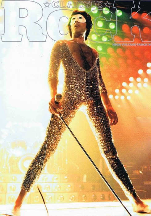 Freddie on the cover of Rock magazine in a silver sequinned catsuit.