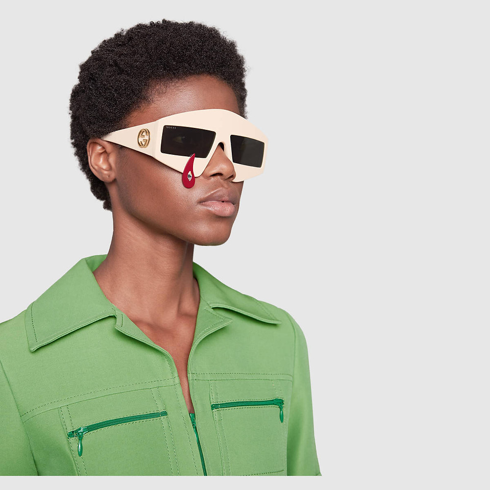 Rectangular-frame acetate sunglasses from Gucci