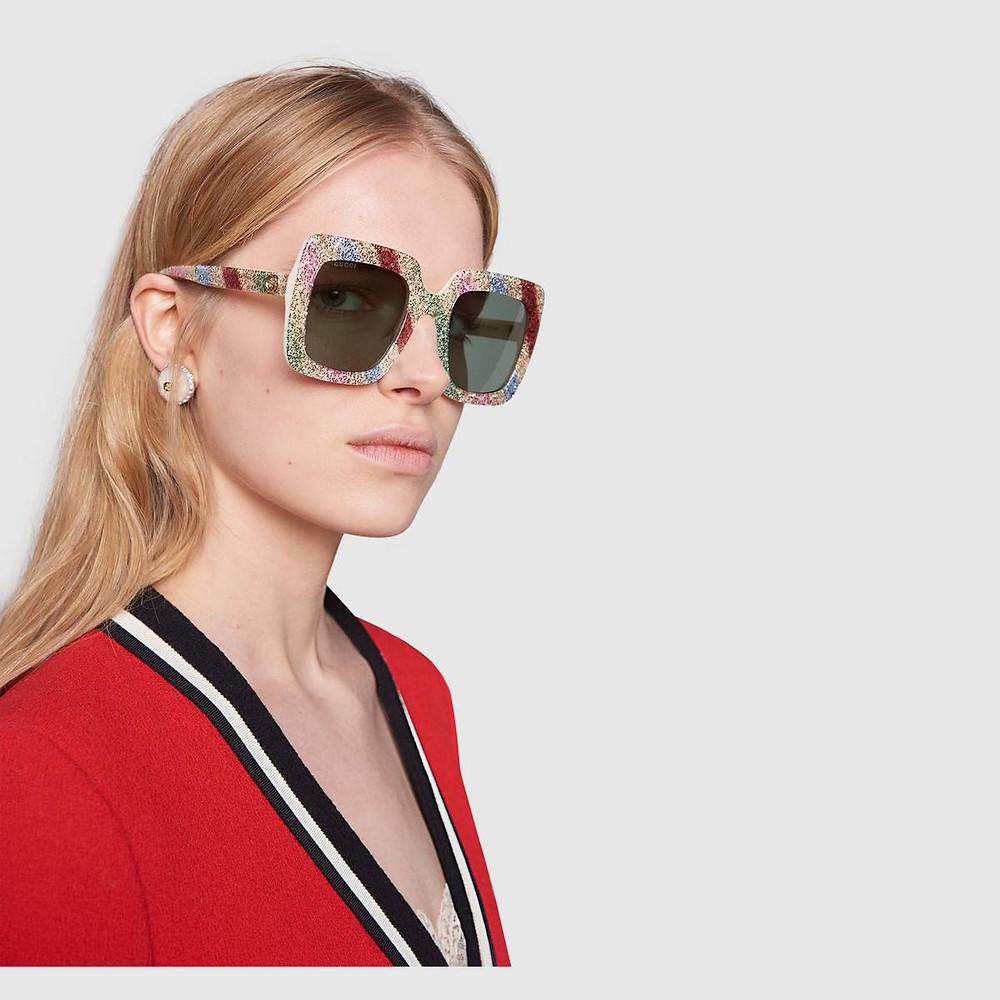 Square-frame glitter acetate sunglasses from Gucci