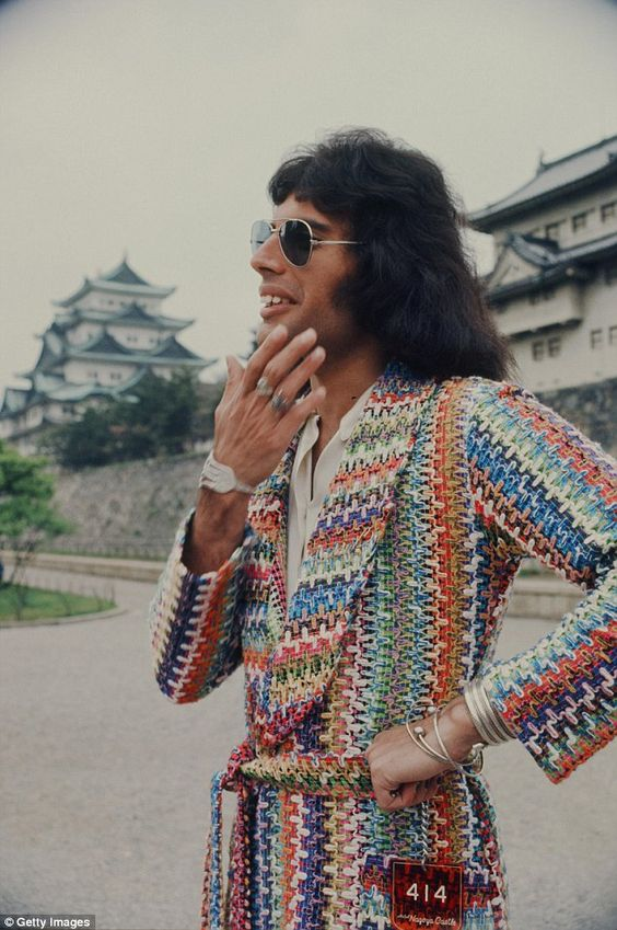 Freddie wearing a multicoloured dressing gown in a set of never-seen-before images released a few years ago.