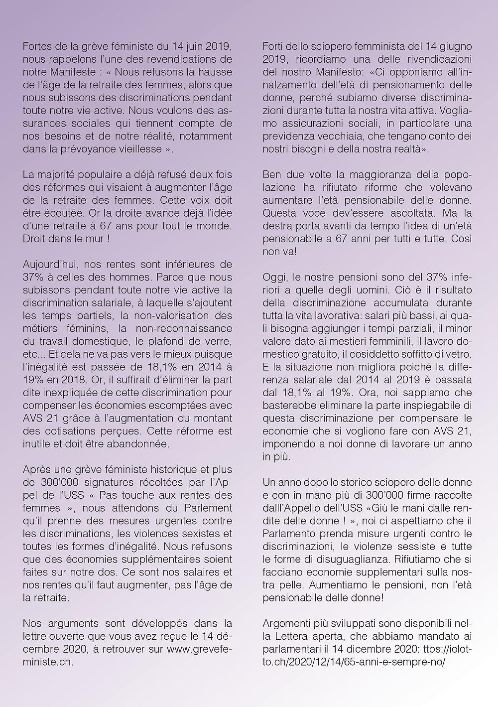 Arguments du non à cette AVS 21. Ici le texte de droite en italien et le texte de gauche en français.