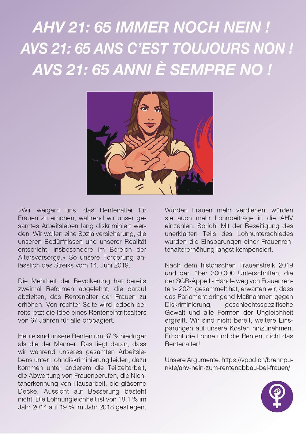 Flyer sur l'AVS 21 : 65 ans c'est toujours non. Une illustration est en dessous du texte, une femme faisant un signe de croix, comme un stop, avec ses deux mains. En dessous de l'image, un texte expliquant les arguments du non à cette AVS21. Le texte est traduit en français, italien et allemand