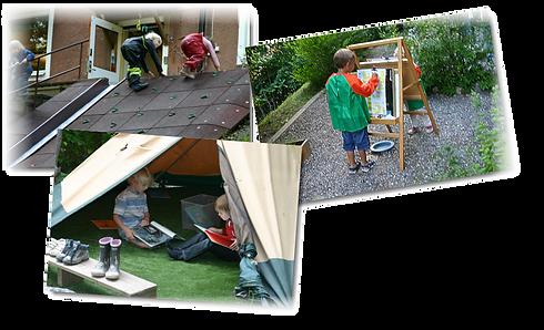 klattervägg tält med barn och målerikonst