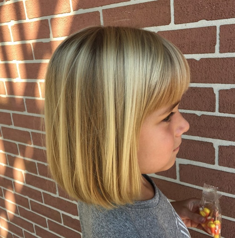 Medium Straight Style with Bangs and Highlights