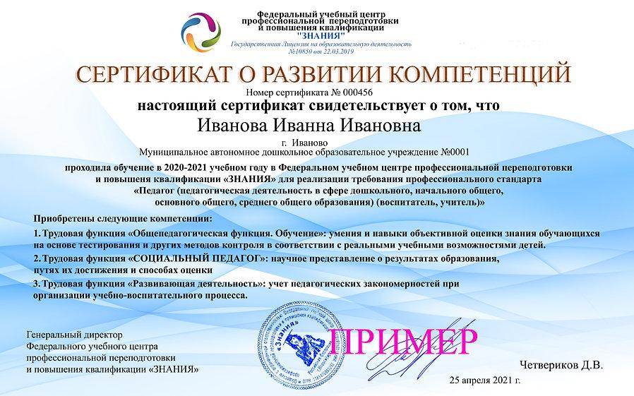 Сертификат компетенций СОЦИАЛЬНЫЙ ПЕДАГО