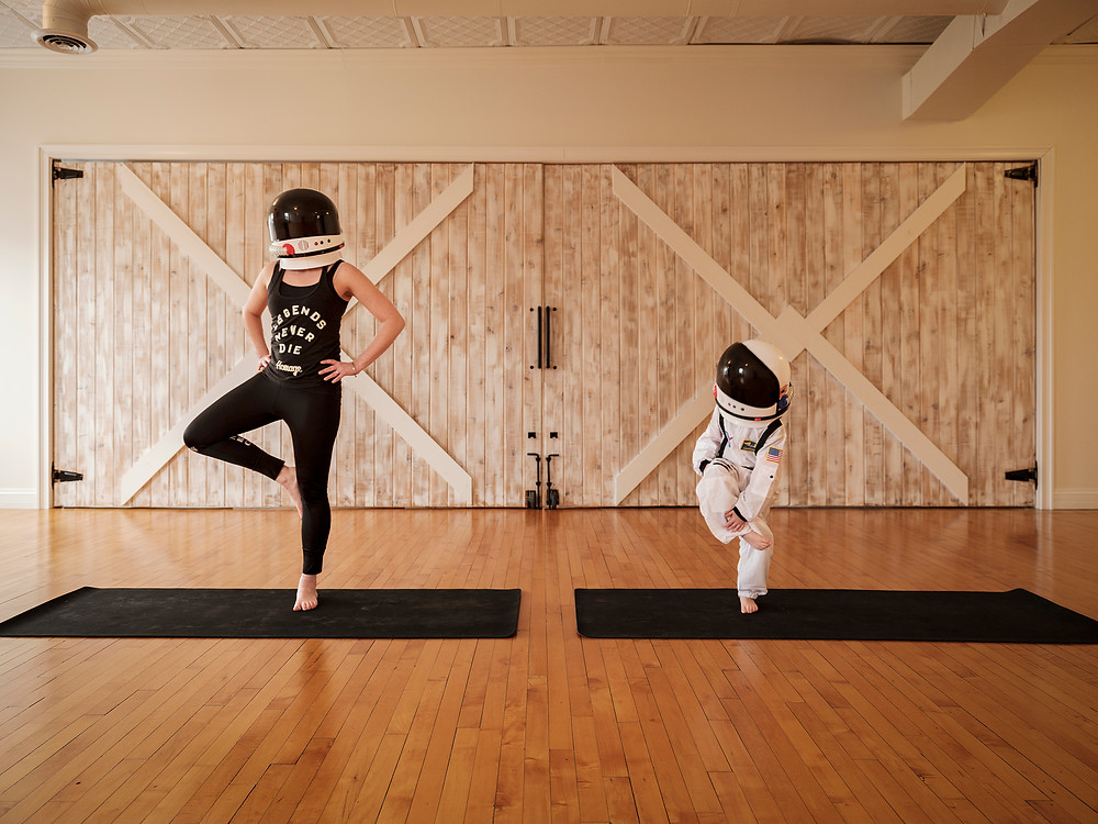 Astronaut Harrison and his Mom at @balancedyogastudios