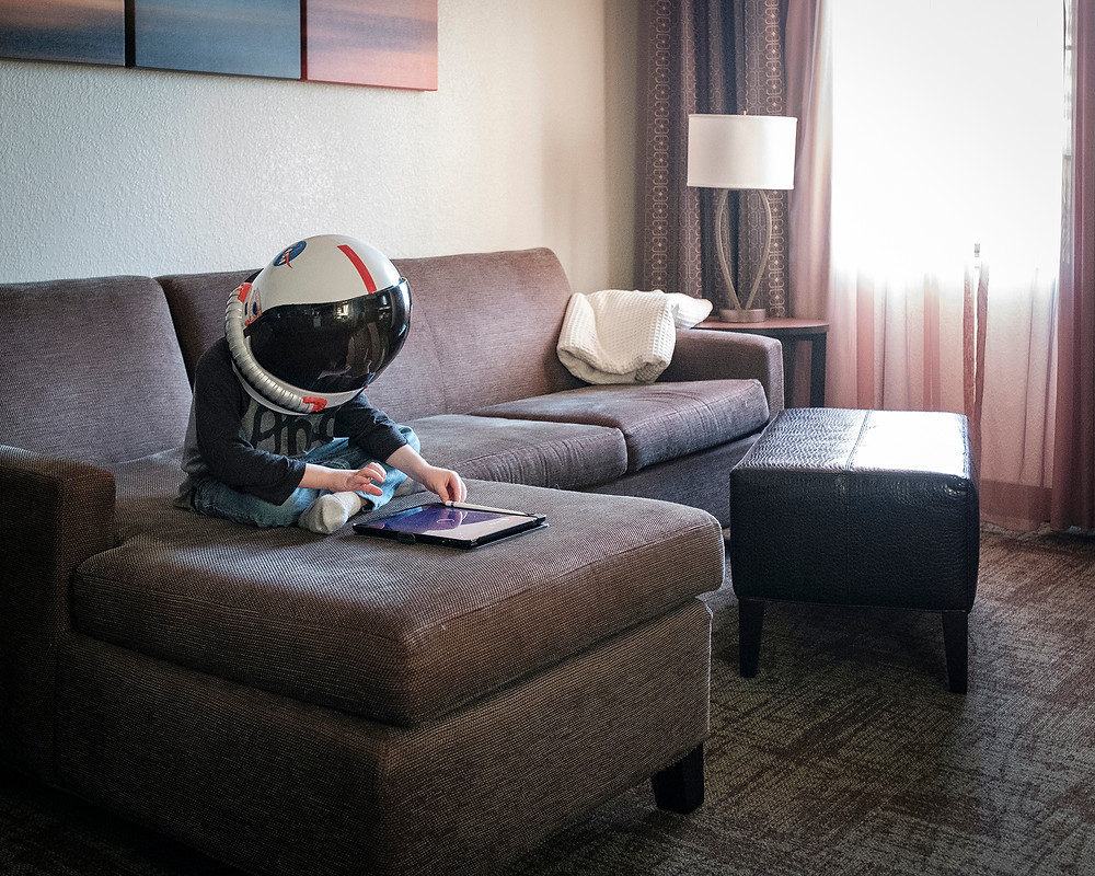Having a comfy couch makes a big difference when traveling with an Astronaut!