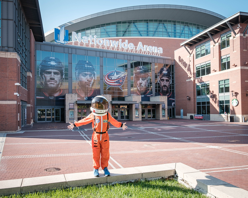 Exploring the Arena District before our first NHL hockey game  at Nationwide Arena