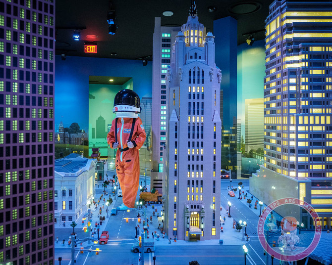 Astronaut Harrison explores the New LEGOLAND Discovery Center At Easton.