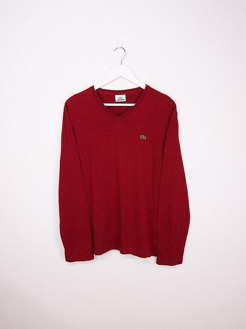 T-Shirt Lacoste à Manches Longues et Col V Rouge - L