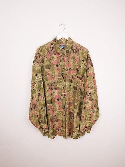 Chemise en Soie Arpino Vintage à Motifs Abstraits Oversize - L