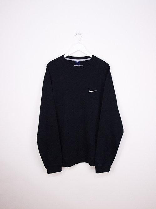 Sweat Nike Vintage Noir Oversize 90's Swoosh Brodé - XXL