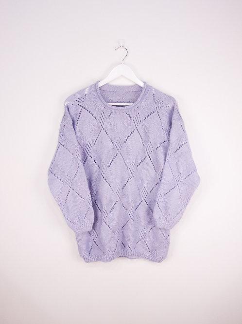 Pull Crochet Violet Pâle Vintage - S/M
