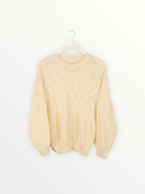 Pull Crochet Jaune Pâle Vintage - S/M