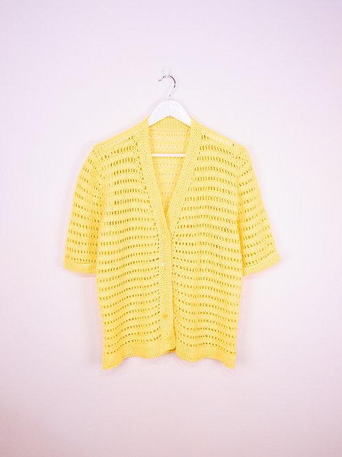 Cardigan Crochet Vintage Jaune à Manches Courtes - M/L