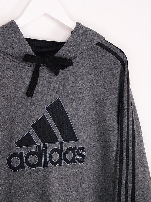 Hoodie Adidas Vintage 90's Gros Logo Brodé Oversize Gris - 2XL
