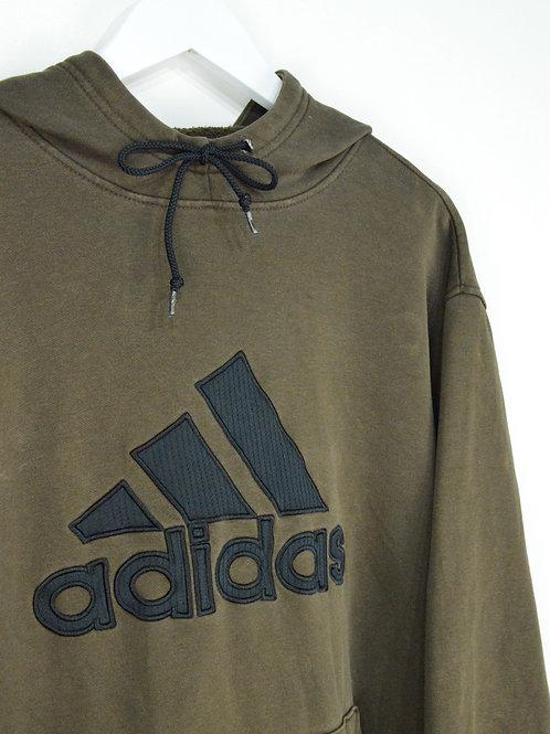 Hoodie Adidas Vintage Gros Logo Brodé Marron - L