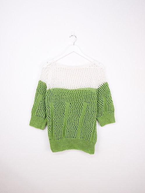 Pull Crochet Vintage Manches 3/4 Bicolore - S/M/L