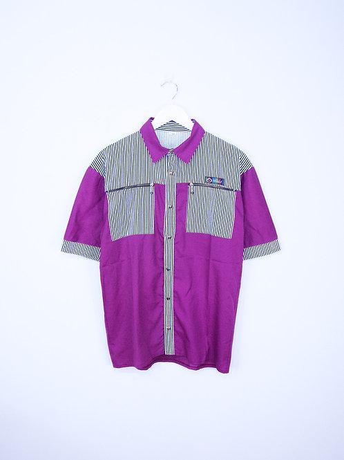 Chemise Italienne Vintage 80's Violette à Rayures - L