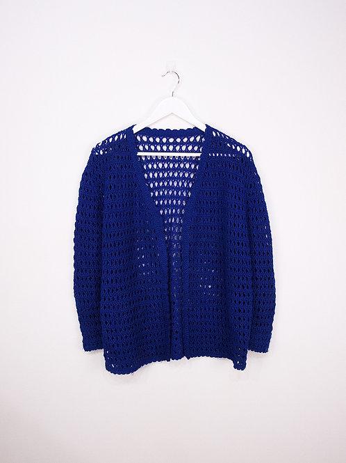 Cardigan Crochet Vintage Bleu Foncé Sans Bouton - S/M