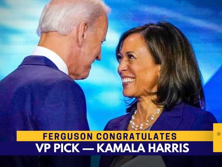 Ferguson excited to work with VP pick Kamala Harris