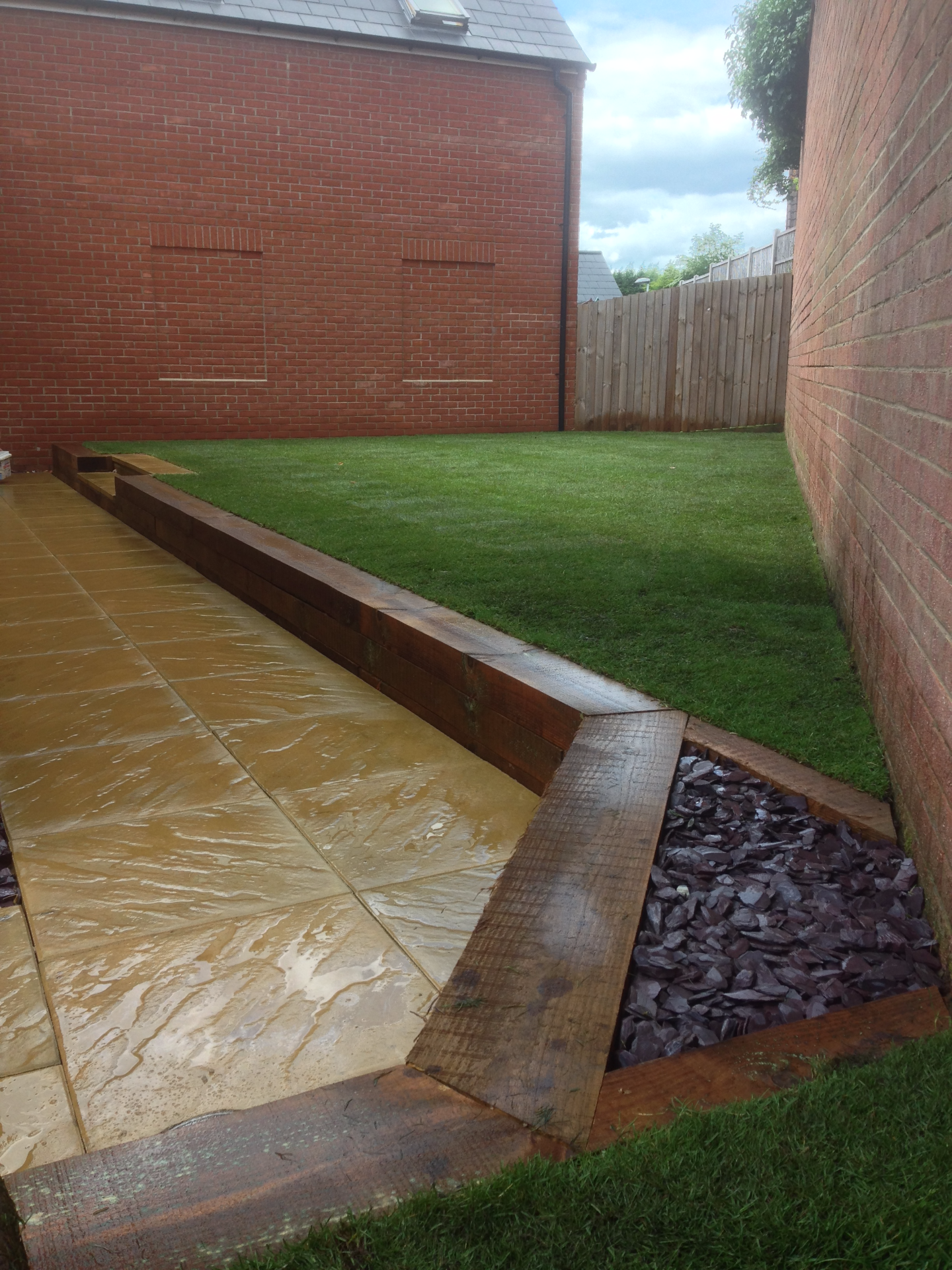 Sleeper wall, new lawn and patio