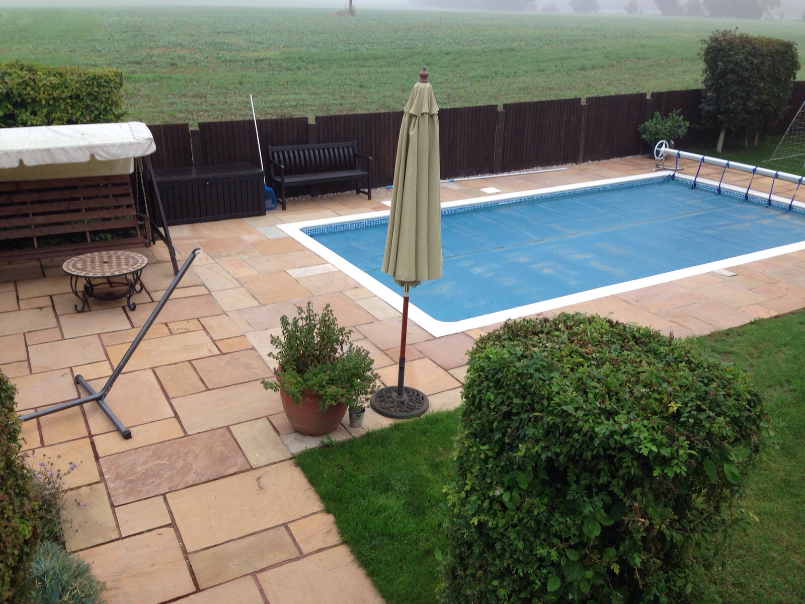 Natural sandstone around pool