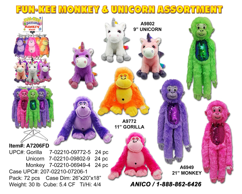 A7206FD Funkee Monkey Unicorn Sheet 2019