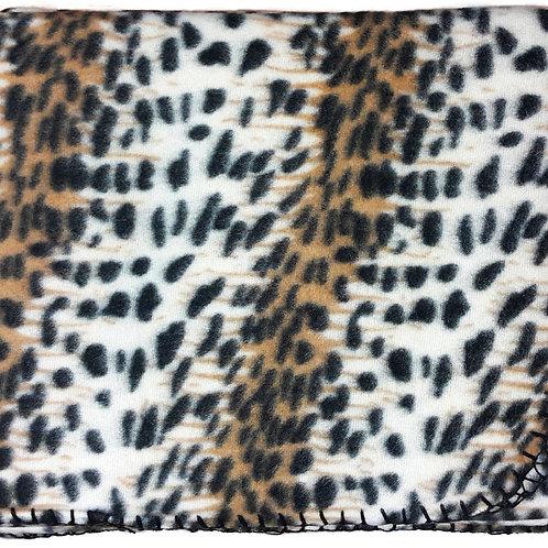 """50""""X60"""" Whipstitch Fleece Blanket - Leopard"""