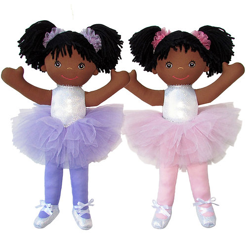 """18"""" Ballerina W/ Pig Tails - African American"""