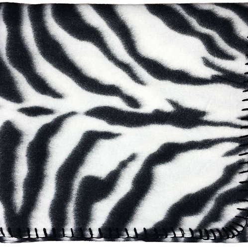 "50""X60"" Whipstitch Fleece Blanket - Zebra"