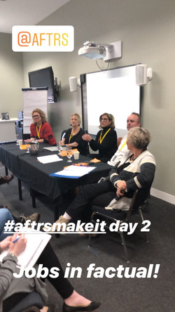 Denise Eriksen sitting on a panel with four guests. Text on image reads @AFTRS, #aftrsmakeit day 2,