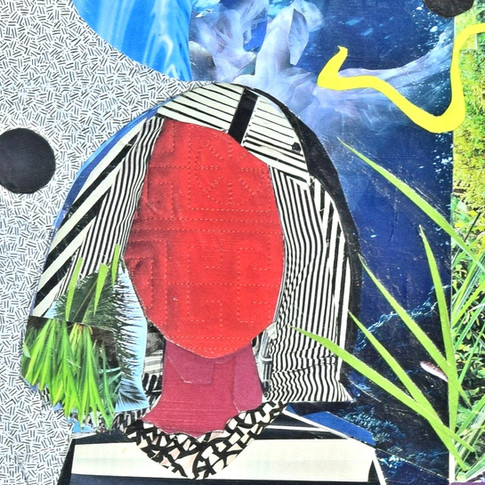 faceless, no eyes, no mouth, no nose, red face, stripped hair, white and black hair.