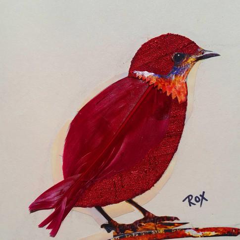 """Red Bird "" collage by Roxana Rojas-Luzon"