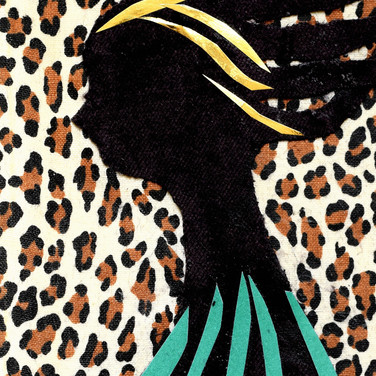 Black person, profile, gold hair, leopard background.