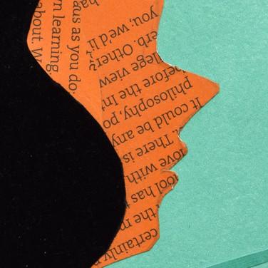 orange face, profile, black hair, green background, plain, minimalistic.