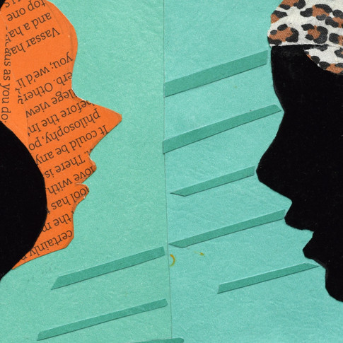 Girl profile, leopard face, green hair, brown hat, paper collage, two profiles, black face and orange face, orange printed profile, leopard hair, green background.