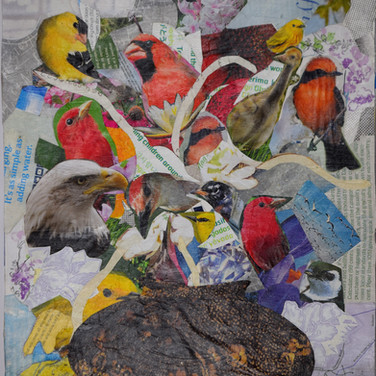 Pecualiar Flowers with Birds collage by Roxana Rojas-Luzon
