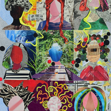 faceless, no eyes, no mouth, no nose, nine faces, nine portraits, crazy portraits, paper collage.