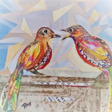 """""""Rare Birds 1"""" collage by Roxana Rojas-Luzon"""