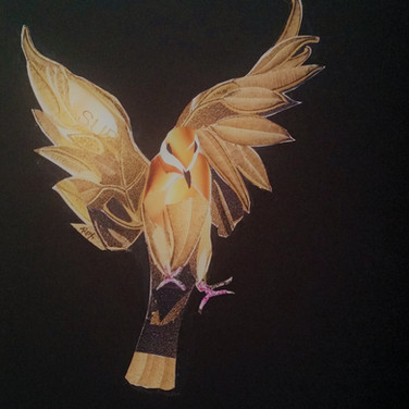 """Golden Bird"" collage by Roxana Rojas-Luzon"