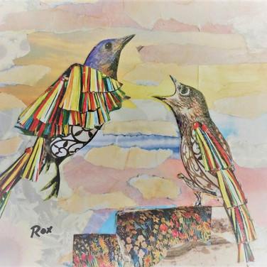 """""""Rare Birds 2"""" collage by Roxana Rojas-Luzon"""