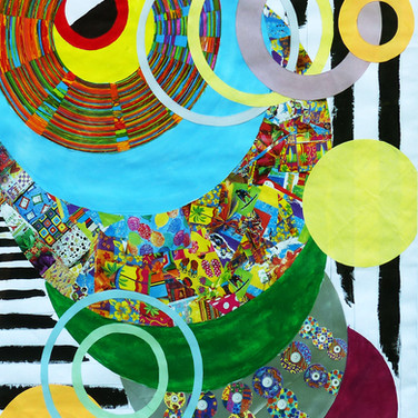 """""""Abstract Circles"""" by Roxana Rojas-Luzon collage"""