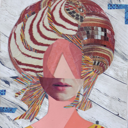 Crazy hairdo, colorful collage, red lips, only mouth on face, pink face, turbant,